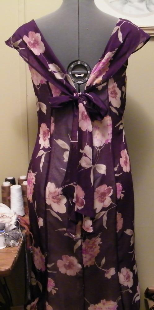 Sheer printed dress back