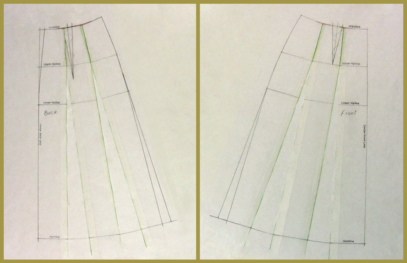 a line skirt pattern drafting